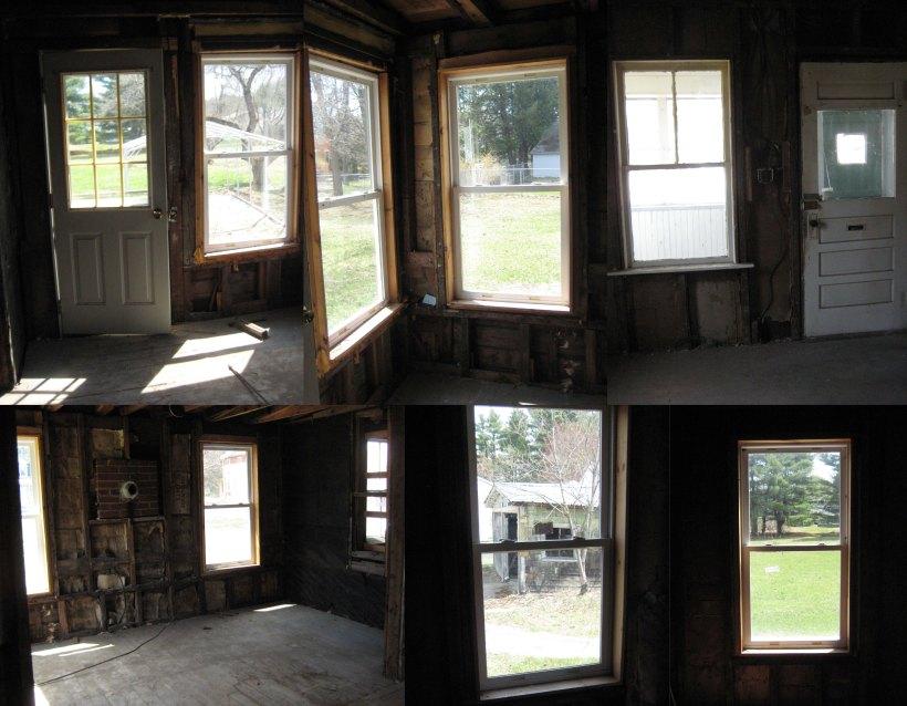 Indoor views, including back door, SW corner, front door, view of garage, view of white pines
